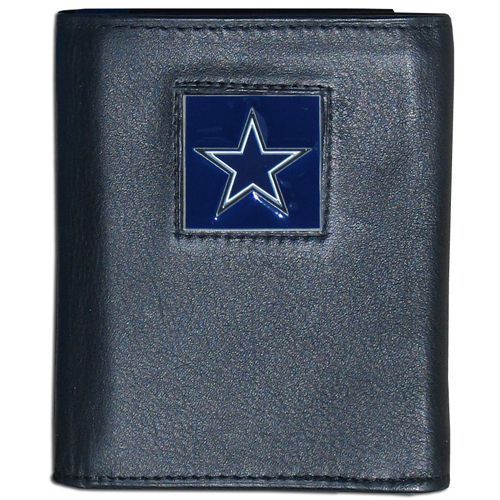 Dallas Cowboys NFL Leather and Nylon Trifold Wallet - Officially licensed Dallas Cowboys NFL collectors leather/nylon tri-fold wallet features a sculpted and hand painted Dallas Cowboys square on a black leather trifold wallet. Includes an ID window, slots for credit cards and clear plastic photo sleeves. For a sporty feel, the liner of the Dallas Cowboys NFL Leather and Nylon Trifold Wallet is made of high quality nylon. Officially licensed NFL product Licensee: Siskiyou Buckle .com