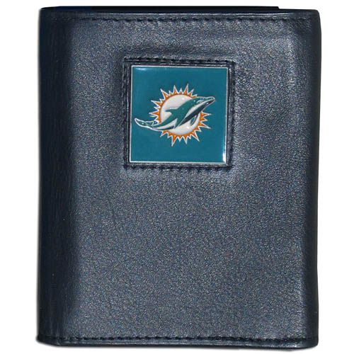 Miami Dolphins NFL Leather and Nylon Trifold Wallet  - Officially licensed Miami Dolphins NFL collectors leather/nylon tri-fold wallet features a sculpted and hand painted Miami Dolphins square on a black leather trifold wallet. Includes an ID window, slots for credit cards and clear plastic photo sleeves. For a sporty feel, the liner of the Miami Dolphins NFL Leather and Nylon Trifold Wallet is made of high quality nylon. Officially licensed NFL product Licensee: Siskiyou Buckle .com