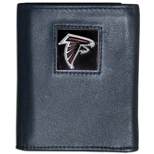Atlanta Falcons - NFL Trifold Wallet in a Window Box - Our Executive Trifolds are made of high quality fine grain leather with a sculpted NFL team emblem. Packaged in window box that can be hung by a peg or stacked on a shelf. Check out our entire line of  NFL merchandise! Officially licensed NFL product Licensee: Siskiyou Buckle .com