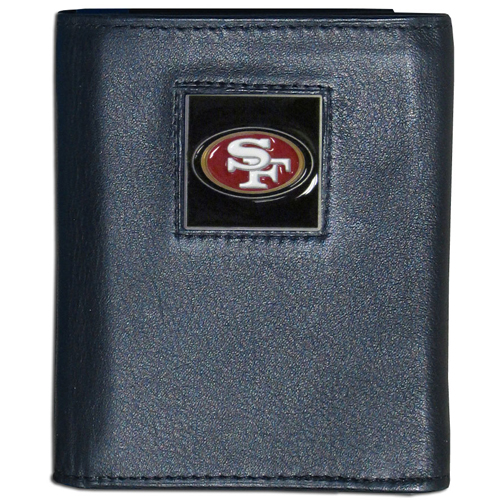 San Francisco 49Ers - NFL Trifold Wallet in a Window Box - Our Executive Trifolds are made of high quality fine grain leather with a sculpted NFL team emblem. Packaged in window box that can be hung by a peg or stacked on a shelf. Check out our entire line of  NFL merchandise! Officially licensed NFL product Licensee: Siskiyou Buckle .com