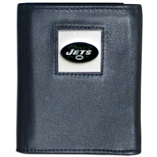 New York Jets NFL Trifold Wallet  - Officially licensed Executive New York Jets NFL Trifold Wallets are made of high quality fine grain leather with a sculpted New York Jets New York Jets team emblem. Check out our entire line of NFL New York Jets merchandise! Officially licensed NFL product Licensee: Siskiyou Buckle Thank you for visiting CrazedOutSports.com