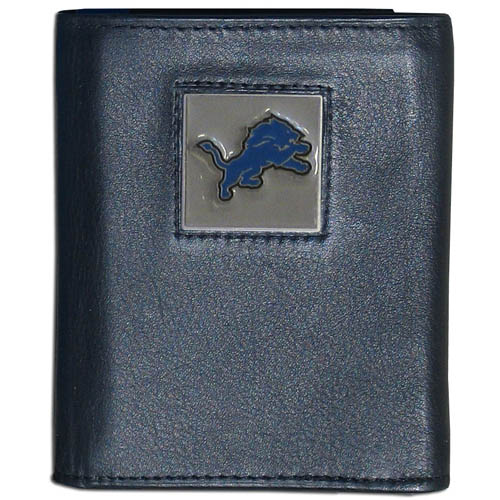 Detroit Lions - NFL Trifold Wallet in a Window Box - Our Executive Trifolds are made of high quality fine grain leather with a sculpted NFL team emblem. Packaged in window box that can be hung by a peg or stacked on a shelf. Check out our entire line of  NFL merchandise! Officially licensed NFL product Licensee: Siskiyou Buckle .com