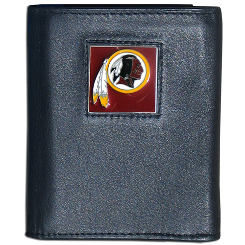 Washington Redskins - NFL Trifold Wallet in a Window Box - Our Executive Trifolds are made of high quality fine grain leather with a sculpted NFL team emblem. Packaged in window box that can be hung by a peg or stacked on a shelf. Check out our entire line of  NFL merchandise! Officially licensed NFL product Licensee: Siskiyou Buckle .com