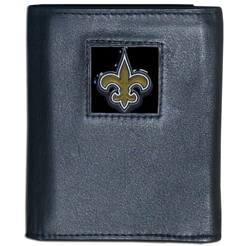 New Orleans Saints - NFL Trifold Wallet in a Window Box - Our Executive Trifolds are made of high quality fine grain leather with a sculpted NFL team emblem. Packaged in window box that can be hung by a peg or stacked on a shelf. Check out our entire line of  NFL merchandise! Officially licensed NFL product Licensee: Siskiyou Buckle .com
