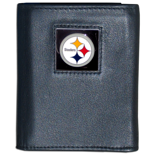 Pittsburgh Steelers - NFL Trifold Wallet in a Window Box - Our Executive Trifolds are made of high quality fine grain leather with a sculpted NFL team emblem. Packaged in window box that can be hung by a peg or stacked on a shelf. Check out our entire line of  NFL merchandise! Officially licensed NFL product Licensee: Siskiyou Buckle .com