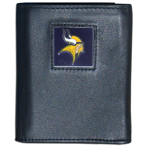 Minnesota Vikings - NFL Trifold Wallet in a Window Box - Our Executive Trifolds are made of high quality fine grain leather with a sculpted NFL team emblem. Packaged in window box that can be hung by a peg or stacked on a shelf. window box that can be hung by a peg or stacked on a shelf. Check out our  Officially licensed NFL product Licensee: Siskiyou Buckle .com