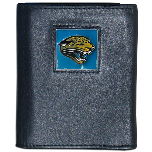 Jacksonville Jaguars NFL Leather and Nylon Trifold Wallet - Officially licensed Jacksonville Jaguars NFL collectors leather/nylon tri-fold wallet features a sculpted and hand painted Jacksonville Jaguars square on a black leather trifold wallet. Includes an ID window, slots for credit cards and clear plastic photo sleeves. For a sporty feel, the liner of the Jacksonville Jaguars NFL Leather and Nylon Trifold Wallet is made of high quality nylon. Officially licensed NFL product Licensee: Siskiyou Buckle Thank you for visiting CrazedOutSports.com