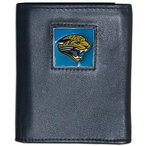Jacksonville Jaguars - NFL Trifold Wallet in a Window Box - Our Executive Trifolds are made of high quality fine grain leather with a sculpted NFL team emblem. Packaged in window box that can be hung by a peg or stacked on a shelf.. Check out our entire line of  NFL merchandise! Officially licensed NFL product Licensee: Siskiyou Buckle .com