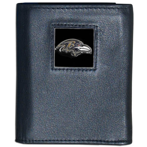Baltimore Ravens NFL Leather and Nylon Trifold Wallet - Officially licensed Baltimore Ravens NFL collectors leather/nylon tri-fold wallet features a sculpted and hand painted Baltimore Ravens square on a black leather trifold wallet. Includes an ID window, slots for credit cards and clear plastic photo sleeves. For a sporty feel, the liner of the Baltimore Ravens NFL Leather and Nylon Trifold Wallet is made of high quality nylon. Officially licensed NFL product Licensee: Siskiyou Buckle Thank you for visiting CrazedOutSports.com