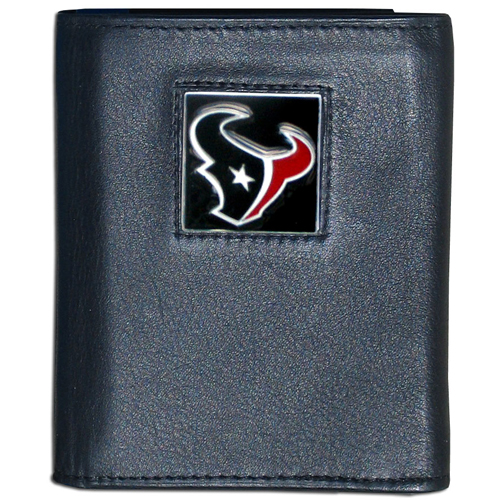 Houston Texans - NFL Trifold Wallet in a Window Box - Our Executive Trifolds are made of high quality fine grain leather with a sculpted NFL team emblem. Packaged in a window box that can be hung by a peg or stacked on a shelf. Check out our entire line of  NFL merchandise! Officially licensed NFL product Licensee: Siskiyou Buckle .com