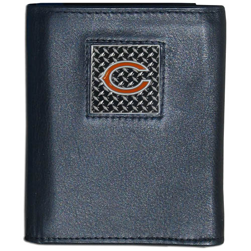 Chicago Bears Gridiron Leather Tri-fold Wallet - Officially licensed NFL Chicago Bears Gridiron Leather Tri-fold Wallet features numerous card slots, windowed ID slots, removable picture slots and large billfold pockets. This quality wallet has an enameled gridiron style Chicago Bears emblem on the front of the wallet. Packaged in a windowed box. Officially licensed NFL product Licensee: Siskiyou Buckle .com