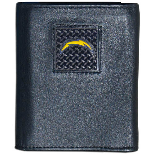 San Diego Chargers Gridiron Leather Tri-fold Wallet - Officially licensed NFL San Diego Chargers fine grain leather wallet features numerous card slots, windowed ID slots, removable picture slots and large billfold pockets. This quality wallet has an enameled gridiron style San Diego Chargers emblem on the front of the wallet. Packaged in a windowed box. Officially licensed NFL product Licensee: Siskiyou Buckle .com