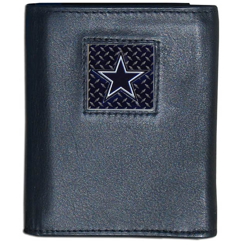 Dallas Cowboys Gridiron Leather Tri-fold Wallet - Officially licensed NFL Dallas Cowboys Gridiron Leather Tri-fold Wallet features numerous card slots, windowed ID slots, removable picture slots and large billfold pockets. This quality wallet has an enameled gridiron style Dallas Cowboys emblem on the front of the wallet. Officially licensed NFL product Licensee: Siskiyou Buckle Thank you for visiting CrazedOutSports.com