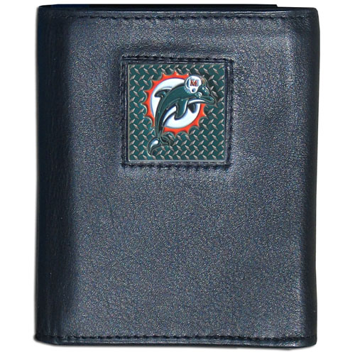 Miami Dolphins Gridiron Leather Tri-fold Wallet - Officially licensed NFL Miami Dolphins fine grain leather wallet features numerous card slots, windowed ID slots, removable picture slots and large billfold pockets. This quality wallet has an enameled gridiron style Miami Dolphins emblem on the front of the wallet. Packaged in a windowed box. Officially licensed NFL product Licensee: Siskiyou Buckle .com