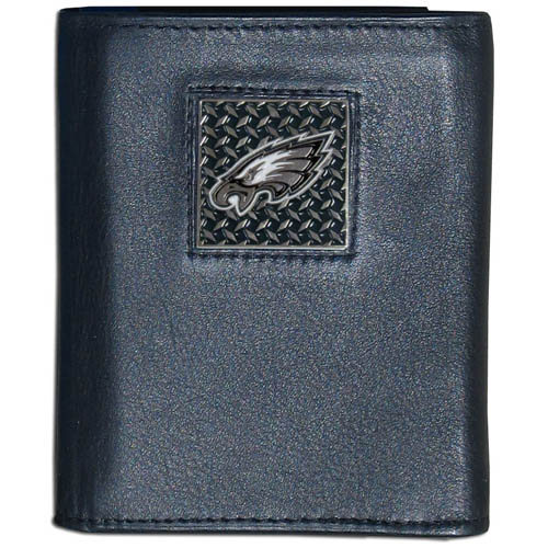 Philadelphia Eagles Gridiron Leather Tri-fold Wallet - Officially licensed NFL Philadelphia Eagles fine grain leather wallet features numerous card slots, windowed ID slots, removable picture slots and large billfold pockets. This quality wallet has an enameled gridiron style Philadelphia Eagles emblem on the front of the wallet. Packaged in a windowed box. Officially licensed NFL product Licensee: Siskiyou Buckle .com