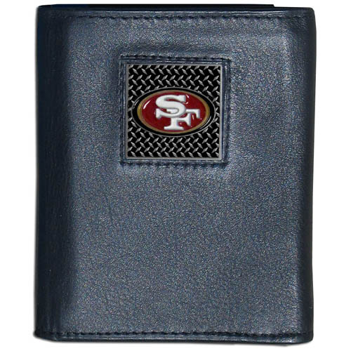 San Francisco 49ers Gridiron Leather Tri-fold Wallet - Officially licensed San Francisco 49ers NFL fine grain leather wallet features numerous card slots, windowed ID slots, removable picture slots and large billfold pockets. This quality wallet has an enameled gridiron style San Francisco 49ers emblem on the front of the wallet. Packaged in a windowed box. Officially licensed NFL product Licensee: Siskiyou Buckle .com