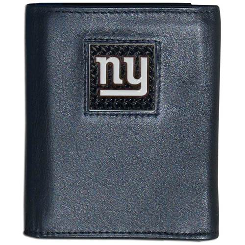 New York Giants Gridiron Leather Tri-fold Wallet - Officially licensed NFL New York Giants Gridiron Leather Tri-fold Wallet features numerous card slots, windowed ID slots, removable picture slots and large billfold pockets. This quality wallet has an enameled gridiron style New York Giants emblem on the front of the wallet. Officially licensed NFL product Licensee: Siskiyou Buckle .com