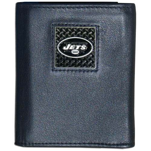 New York Jets Gridiron Leather Tri-fold Wallet - Officially licensed NFL New York Jets Gridiron Leather Tri-fold Wallet features numerous card slots, windowed ID slots, removable picture slots and large billfold pockets. This quality wallet has an enameled gridiron style New York Jets emblem on the front of the wallet. Officially licensed NFL product Licensee: Siskiyou Buckle Thank you for visiting CrazedOutSports.com