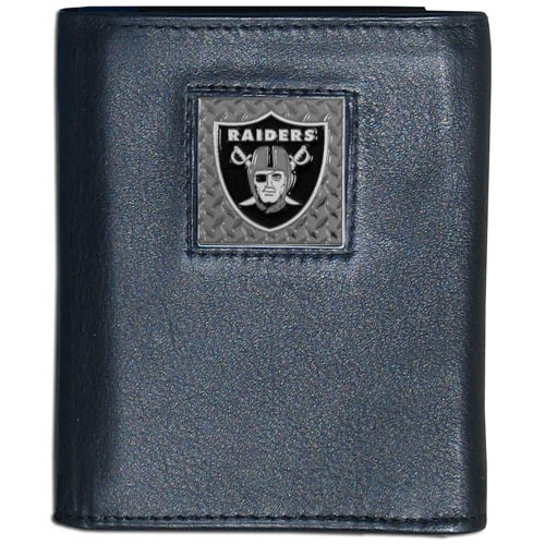 Oakland Raiders Gridiron Leather Tri-fold Wallet - Officially licensed NFL Oakland Raiders Gridiron Leather Tri-fold Wallet features numerous card slots, windowed ID slots, removable picture slots and large billfold pockets. This quality wallet has an enameled gridiron style Oakland Raiders emblem on the front of the wallet. Officially licensed NFL product Licensee: Siskiyou Buckle Thank you for visiting CrazedOutSports.com
