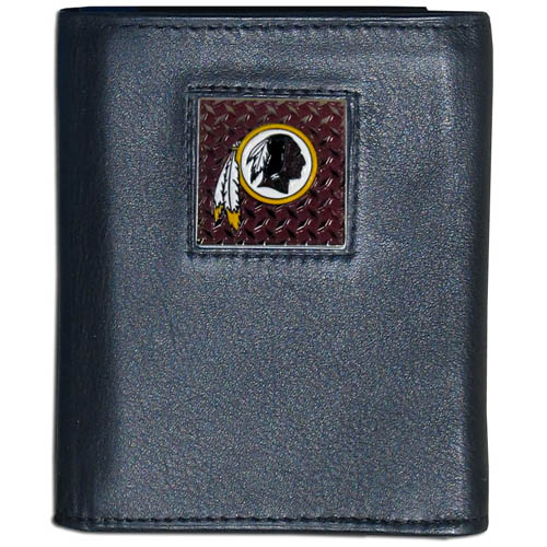 Washington Redskins Gridiron Leather Tri-fold Wallet - Officially licensed NFL Washington Redskins Gridiron Leather Tri-fold Wallet features numerous card slots, windowed ID slots, removable picture slots and large billfold pockets. This quality wallet has an enameled gridiron style Washington Redskins emblem on the front of the wallet. Officially licensed NFL product Licensee: Siskiyou Buckle Thank you for visiting CrazedOutSports.com