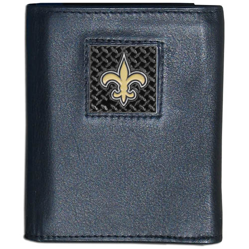 New Orleans Saints Gridiron Leather Tri-fold Wallet - Officially licensed NFL New Orleans Saints fine grain leather wallet features numerous card slots, windowed ID slots, removable picture slots and large billfold pockets. This quality wallet has an enameled gridiron style New Orleans Saints emblem on the front of the wallet. Packaged in a windowed box. Officially licensed NFL product Licensee: Siskiyou Buckle .com
