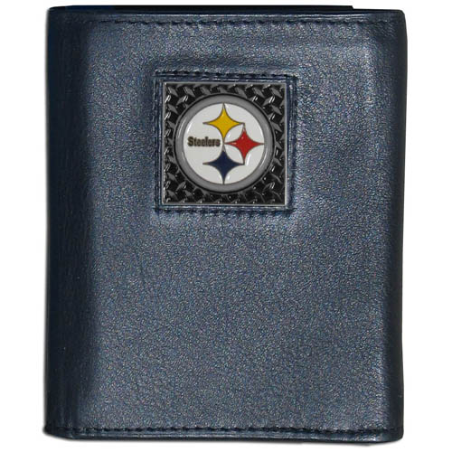Pittsburgh Steelers Gridiron Leather Tri-fold Wallet - Officially licensed NFL Pittsburgh Steelers Gridiron Leather Tri-fold Wallet features numerous card slots, windowed ID slots, removable picture slots and large billfold pockets. This quality wallet has an enameled gridiron style Pittsburgh Steelers emblem on the front of the wallet. Packaged in a windowed box. Officially licensed NFL product Licensee: Siskiyou Buckle .com