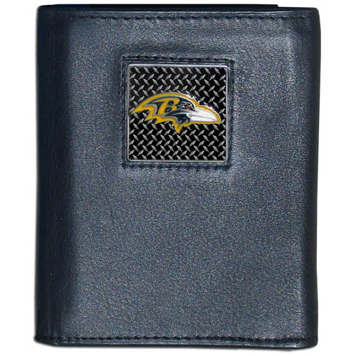 Baltimore Ravens Gridiron Leather Tri-fold Wallet - Officially licensed NFL Baltimore Ravens fine grain leather wallet features numerous card slots, windowed ID slots, removable picture slots and large billfold pockets. This quality wallet has an enameled gridiron style Baltimore Ravens emblem on the front of the wallet. Packaged in a windowed box. Officially licensed NFL product Licensee: Siskiyou Buckle .com