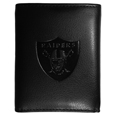 Oakland Raiders Embossed Tri-fold Wallet - Officially licensed Oakland Raiders Embossed Tri-fold Wallet looks great and is affordably priced. The Oakland Raiders Embossed Tri-fold Wallet has the classy feel of a much higher priced wallet and features an embossed Oakland Raiders logo on the front. The Oakland Raiders Embossed Tri-fold Wallet has a windowed ID slot, lots of credit card slots and 2 big bill-fold pockets and removable plastic picture insert. Officially licensed NFL product Licensee: Siskiyou Buckle Thank you for visiting CrazedOutSports.com