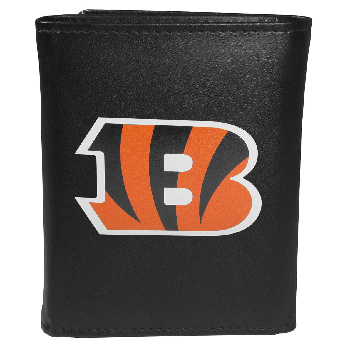 Cincinnati Bengals Tri-fold Wallet Large Logo - Sports fans do not have to sacrifice style with this classic tri-fold wallet that sports theCincinnati Bengals?extra large logo. This men's fashion accessory has a leather grain look and expert craftmanship for a quality wallet at a great price. The wallet features inner credit card slots, windowed ID slot and a large billfold pocket. The front of the wallet features an extra large printed team logo.