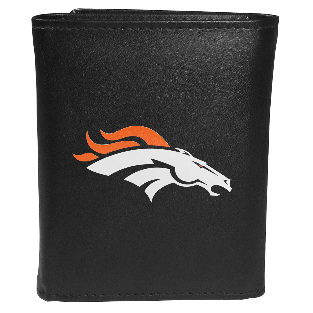 Denver Broncos Tri-fold Wallet Large Logo - Sports fans do not have to sacrifice style with this classic tri-fold wallet that sports theDenver Broncos?extra large logo. This men's fashion accessory has a leather grain look and expert craftmanship for a quality wallet at a great price. The wallet features inner credit card slots, windowed ID slot and a large billfold pocket. The front of the wallet features an extra large printed team logo.