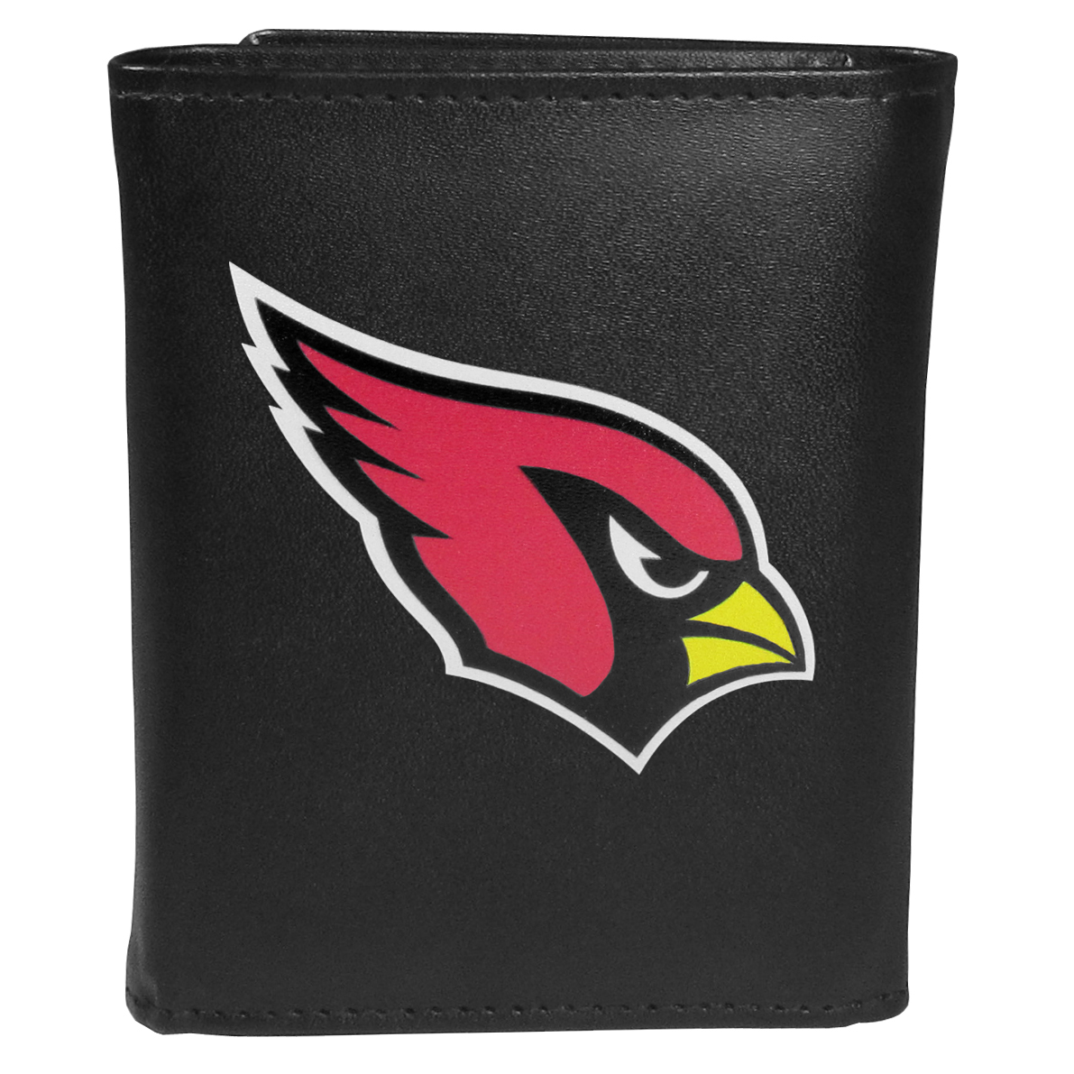 Arizona Cardinals Tri-fold Wallet Large Logo - Sports fans do not have to sacrifice style with this classic tri-fold wallet that sports theArizona Cardinals?extra large logo. This men's fashion accessory has a leather grain look and expert craftmanship for a quality wallet at a great price. The wallet features inner credit card slots, windowed ID slot and a large billfold pocket. The front of the wallet features an extra large printed team logo.