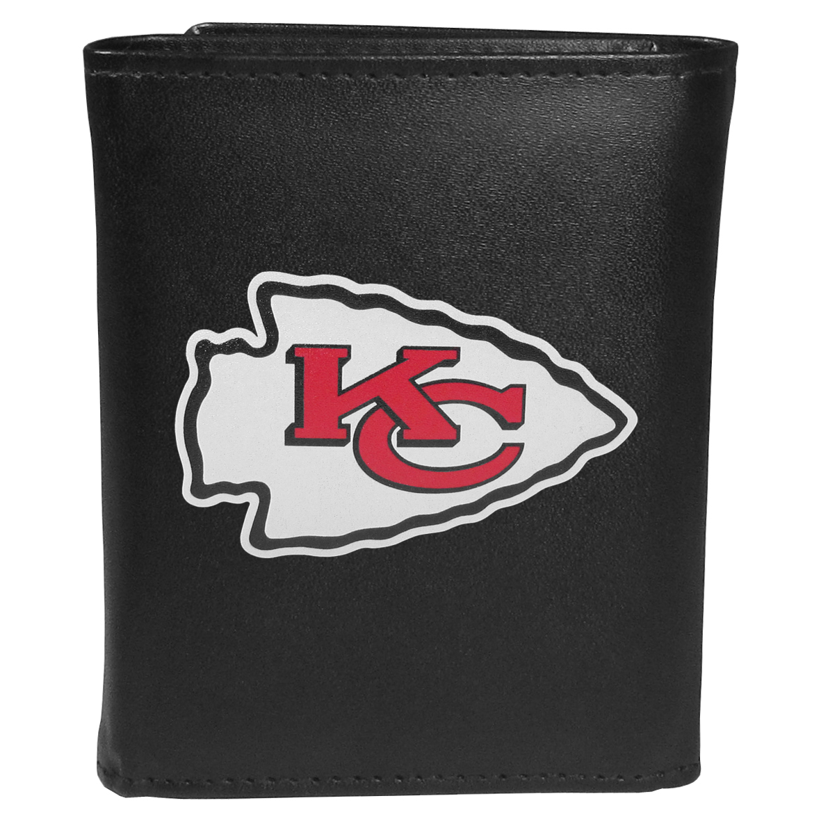 Kansas City Chiefs Tri-fold Wallet Large Logo - Sports fans do not have to sacrifice style with this classic tri-fold wallet that sports theKansas City Chiefs?extra large logo. This men's fashion accessory has a leather grain look and expert craftmanship for a quality wallet at a great price. The wallet features inner credit card slots, windowed ID slot and a large billfold pocket. The front of the wallet features an extra large printed team logo.