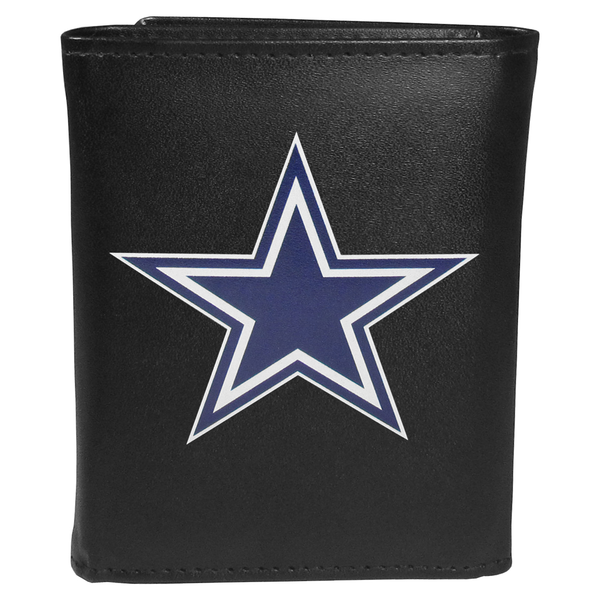 Dallas Cowboys Tri-fold Wallet Large Logo - Sports fans do not have to sacrifice style with this classic tri-fold wallet that sports theDallas Cowboys?extra large logo. This men's fashion accessory has a leather grain look and expert craftmanship for a quality wallet at a great price. The wallet features inner credit card slots, windowed ID slot and a large billfold pocket. The front of the wallet features an extra large printed team logo.