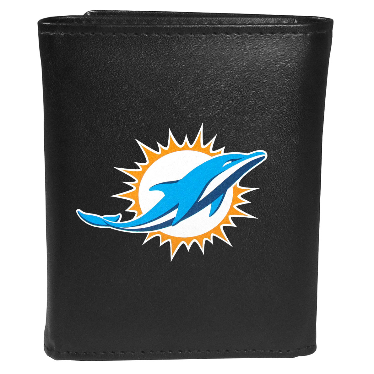 Miami Dolphins Tri-fold Wallet Large Logo - Sports fans do not have to sacrifice style with this classic tri-fold wallet that sports theMiami Dolphins?extra large logo. This men's fashion accessory has a leather grain look and expert craftmanship for a quality wallet at a great price. The wallet features inner credit card slots, windowed ID slot and a large billfold pocket. The front of the wallet features an extra large printed team logo.