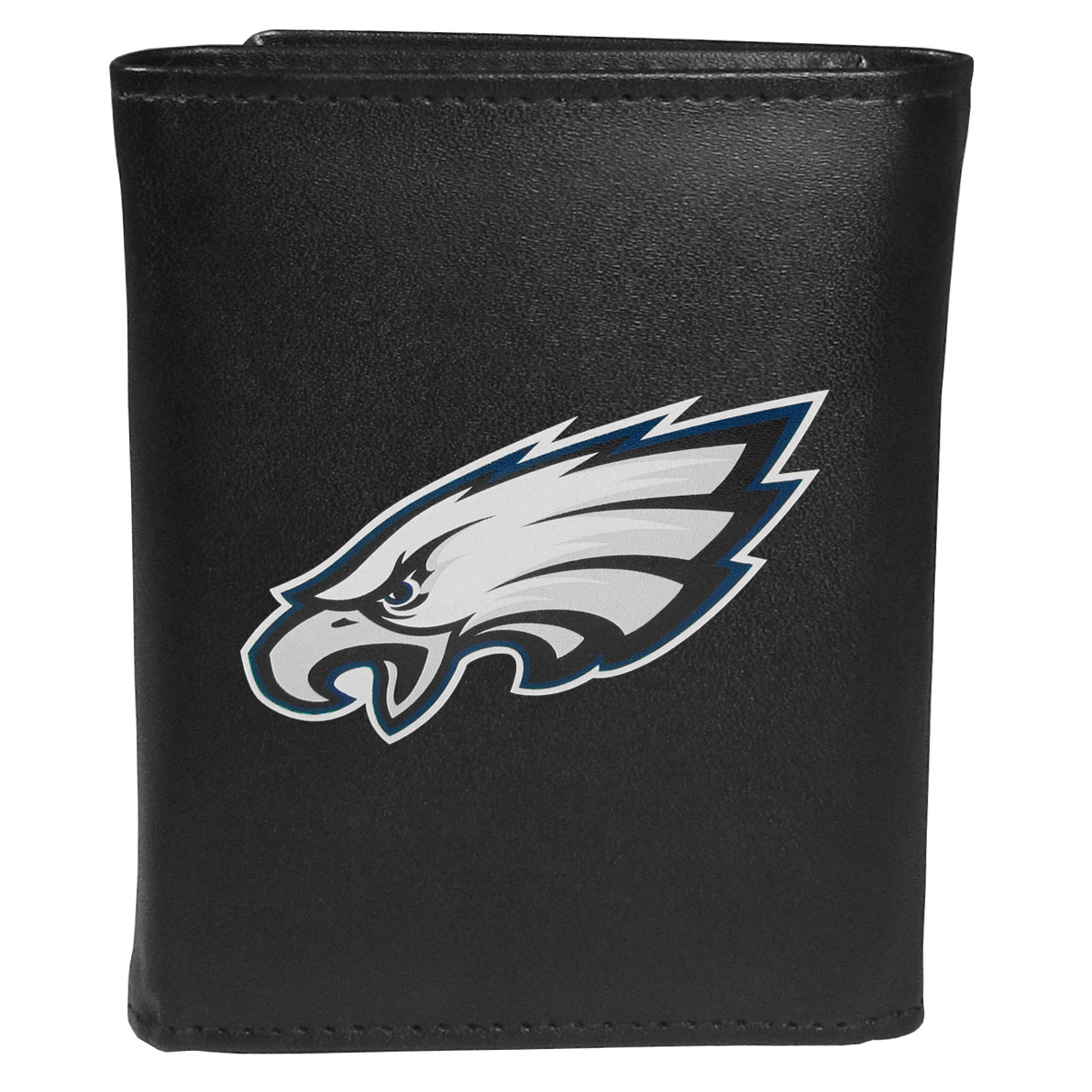 Philadelphia Eagles Tri-fold Wallet Large Logo - Sports fans do not have to sacrifice style with this classic tri-fold wallet that sports thePhiladelphia Eagles?extra large logo. This men's fashion accessory has a leather grain look and expert craftmanship for a quality wallet at a great price. The wallet features inner credit card slots, windowed ID slot and a large billfold pocket. The front of the wallet features an extra large printed team logo.