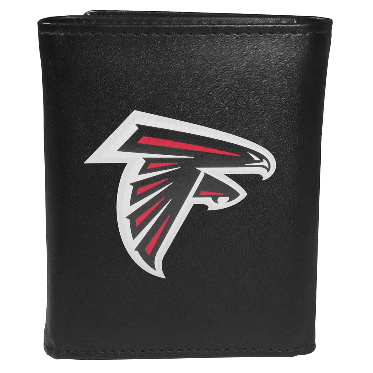 Atlanta Falcons Tri-fold Wallet Large Logo - Sports fans do not have to sacrifice style with this classic tri-fold wallet that sports theAtlanta Falcons?extra large logo. This men's fashion accessory has a leather grain look and expert craftmanship for a quality wallet at a great price. The wallet features inner credit card slots, windowed ID slot and a large billfold pocket. The front of the wallet features an extra large printed team logo.
