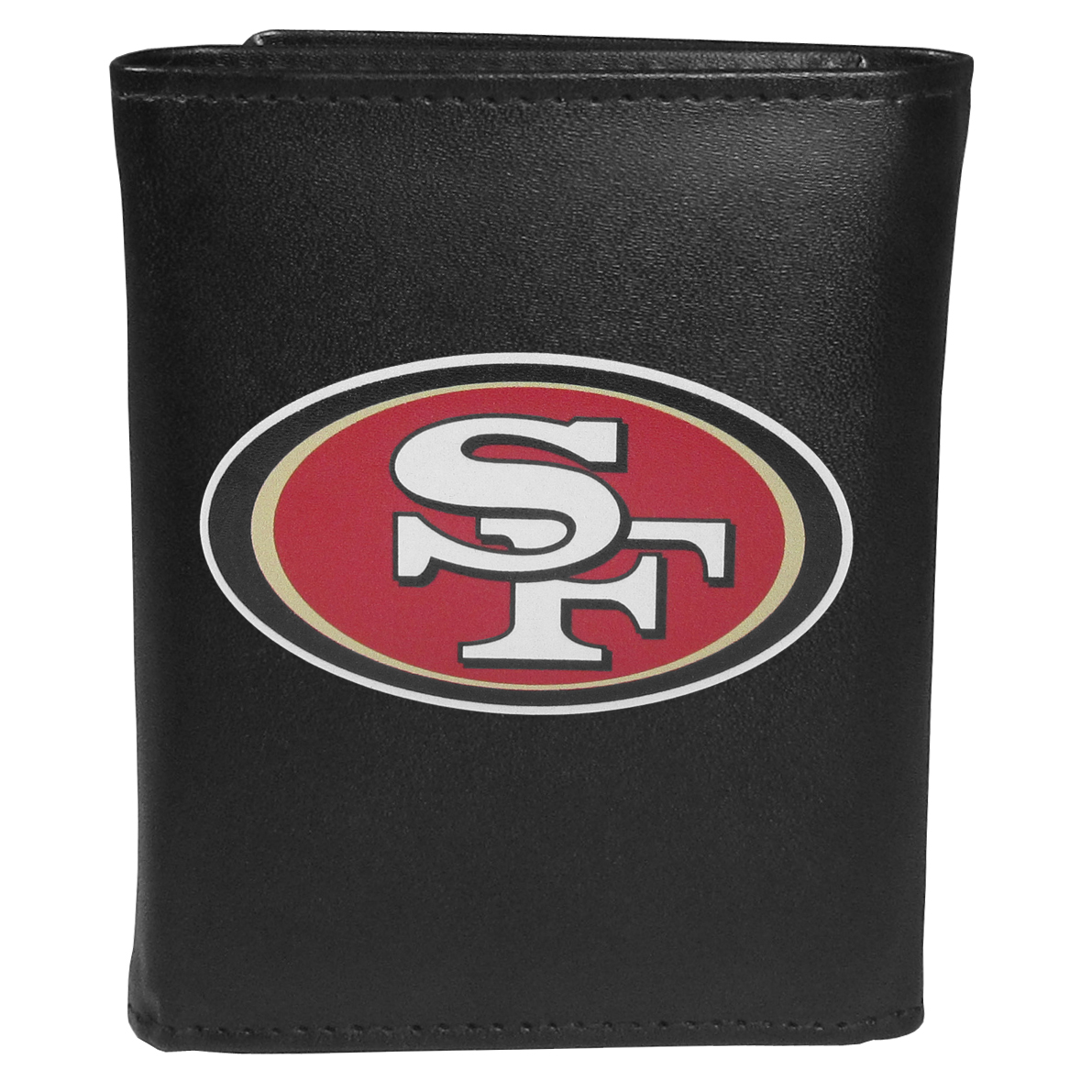 San Francisco 49ers Tri-fold Wallet Large Logo - Sports fans do not have to sacrifice style with this classic tri-fold wallet that sports theSan Francisco 49ers?extra large logo. This men's fashion accessory has a leather grain look and expert craftmanship for a quality wallet at a great price. The wallet features inner credit card slots, windowed ID slot and a large billfold pocket. The front of the wallet features an extra large printed team logo.