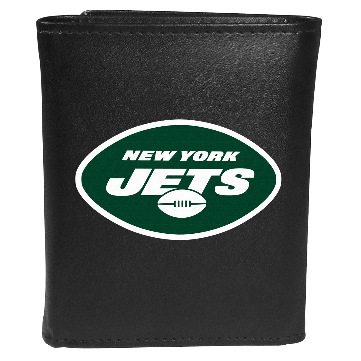 New York Jets Tri-fold Wallet Large Logo - Sports fans do not have to sacrifice style with this classic tri-fold wallet that sports theNew York Jets?extra large logo. This men's fashion accessory has a leather grain look and expert craftmanship for a quality wallet at a great price. The wallet features inner credit card slots, windowed ID slot and a large billfold pocket. The front of the wallet features an extra large printed team logo.