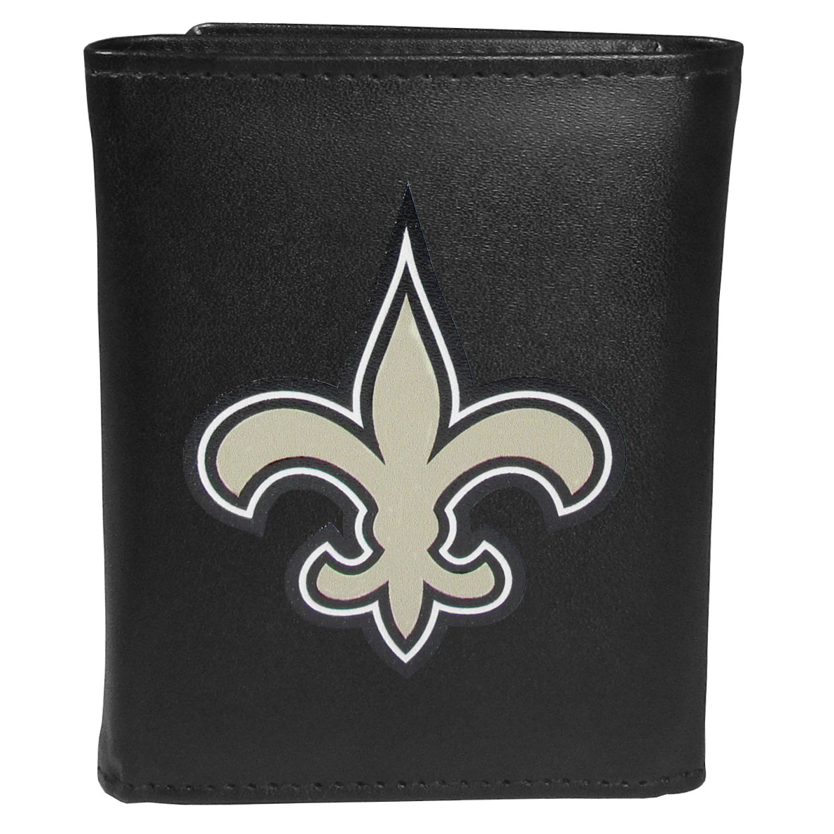 New Orleans Saints Tri-fold Wallet Large Logo - Sports fans do not have to sacrifice style with this classic tri-fold wallet that sports theNew Orleans Saints?extra large logo. This men's fashion accessory has a leather grain look and expert craftmanship for a quality wallet at a great price. The wallet features inner credit card slots, windowed ID slot and a large billfold pocket. The front of the wallet features an extra large printed team logo.