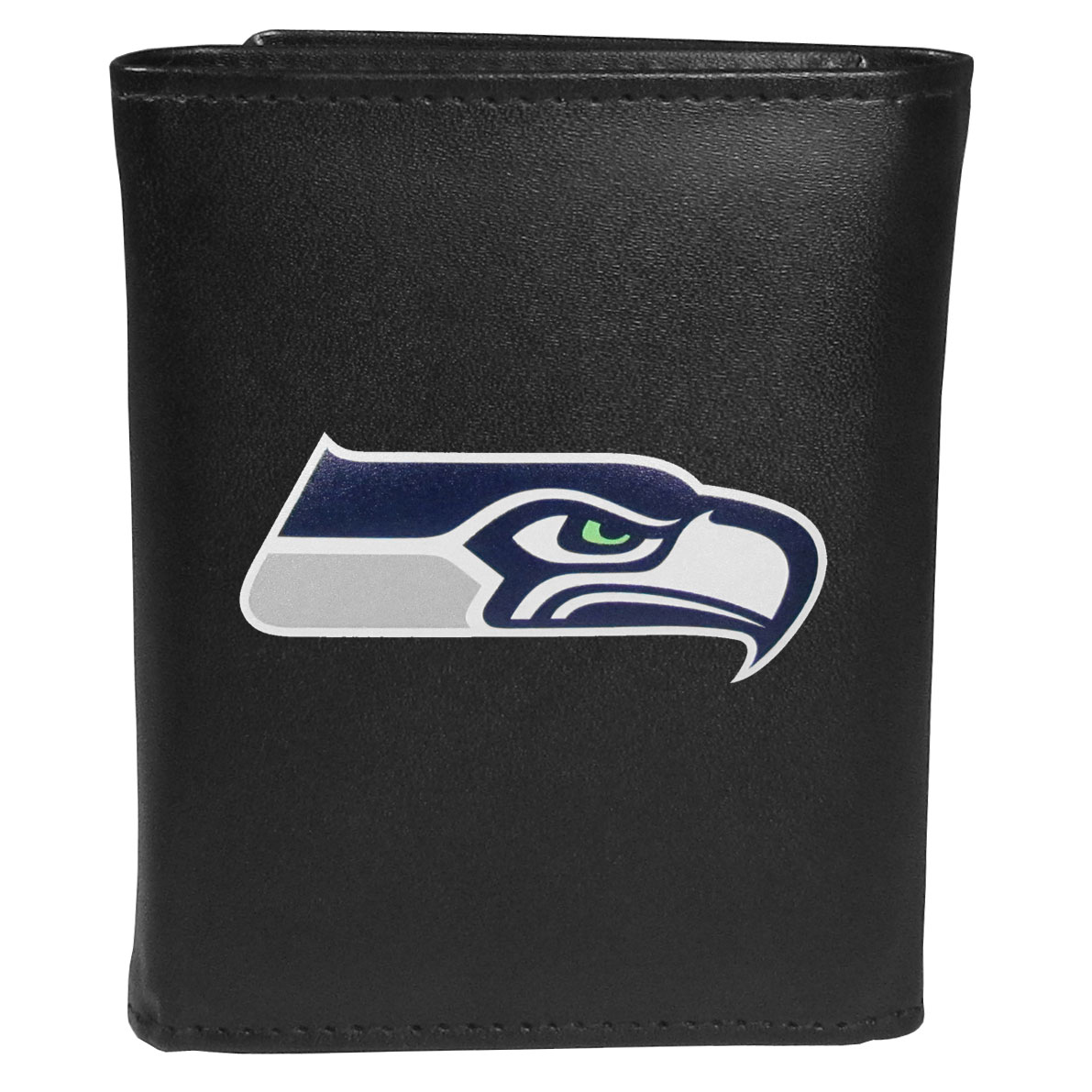 Seattle Seahawks Tri-fold Wallet Large Logo - Sports fans do not have to sacrifice style with this classic tri-fold wallet that sports theSeattle Seahawks?extra large logo. This men's fashion accessory has a leather grain look and expert craftmanship for a quality wallet at a great price. The wallet features inner credit card slots, windowed ID slot and a large billfold pocket. The front of the wallet features an extra large printed team logo.
