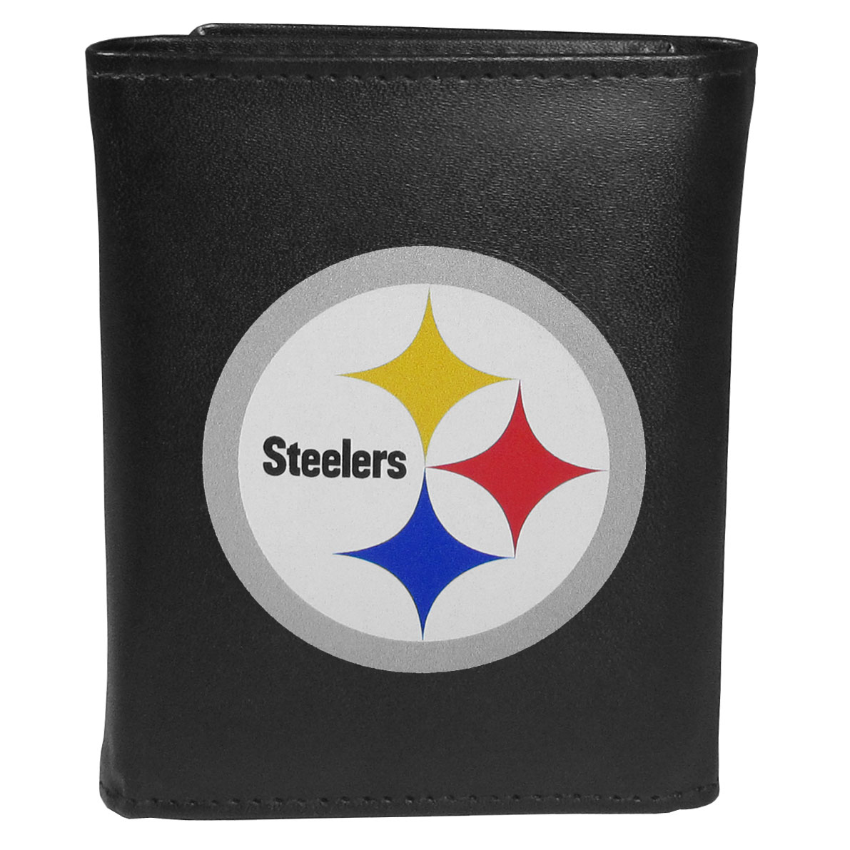 Pittsburgh Steelers Tri-fold Wallet Large Logo - Sports fans do not have to sacrifice style with this classic tri-fold wallet that sports thePittsburgh Steelers?extra large logo. This men's fashion accessory has a leather grain look and expert craftmanship for a quality wallet at a great price. The wallet features inner credit card slots, windowed ID slot and a large billfold pocket. The front of the wallet features an extra large printed team logo.