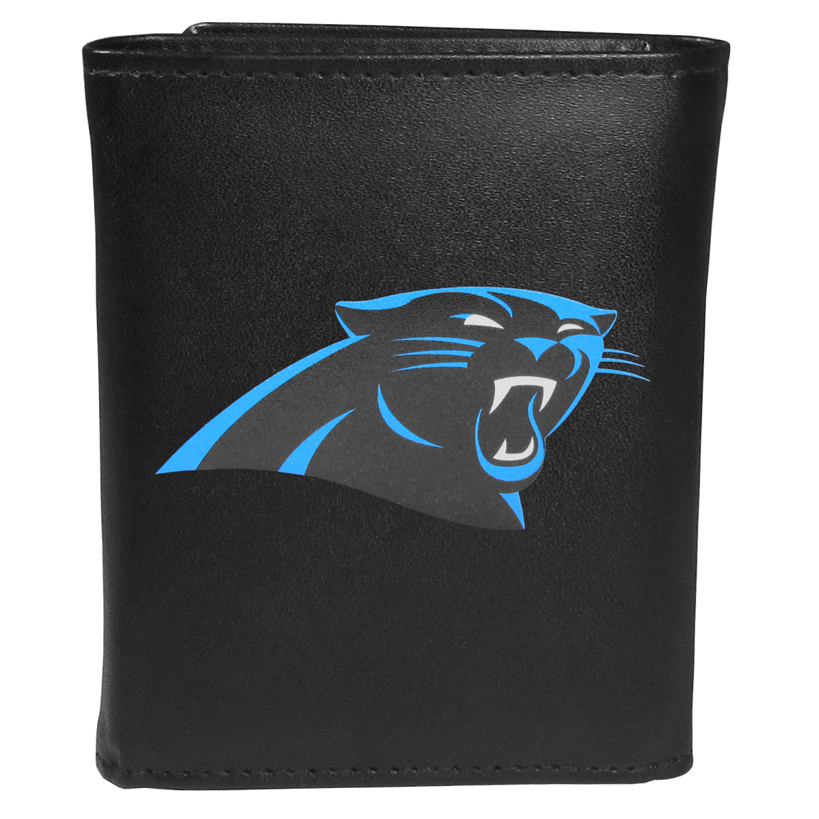 Carolina Panthers Tri-fold Wallet Large Logo - Sports fans do not have to sacrifice style with this classic tri-fold wallet that sports theCarolina Panthers?extra large logo. This men's fashion accessory has a leather grain look and expert craftmanship for a quality wallet at a great price. The wallet features inner credit card slots, windowed ID slot and a large billfold pocket. The front of the wallet features an extra large printed team logo.