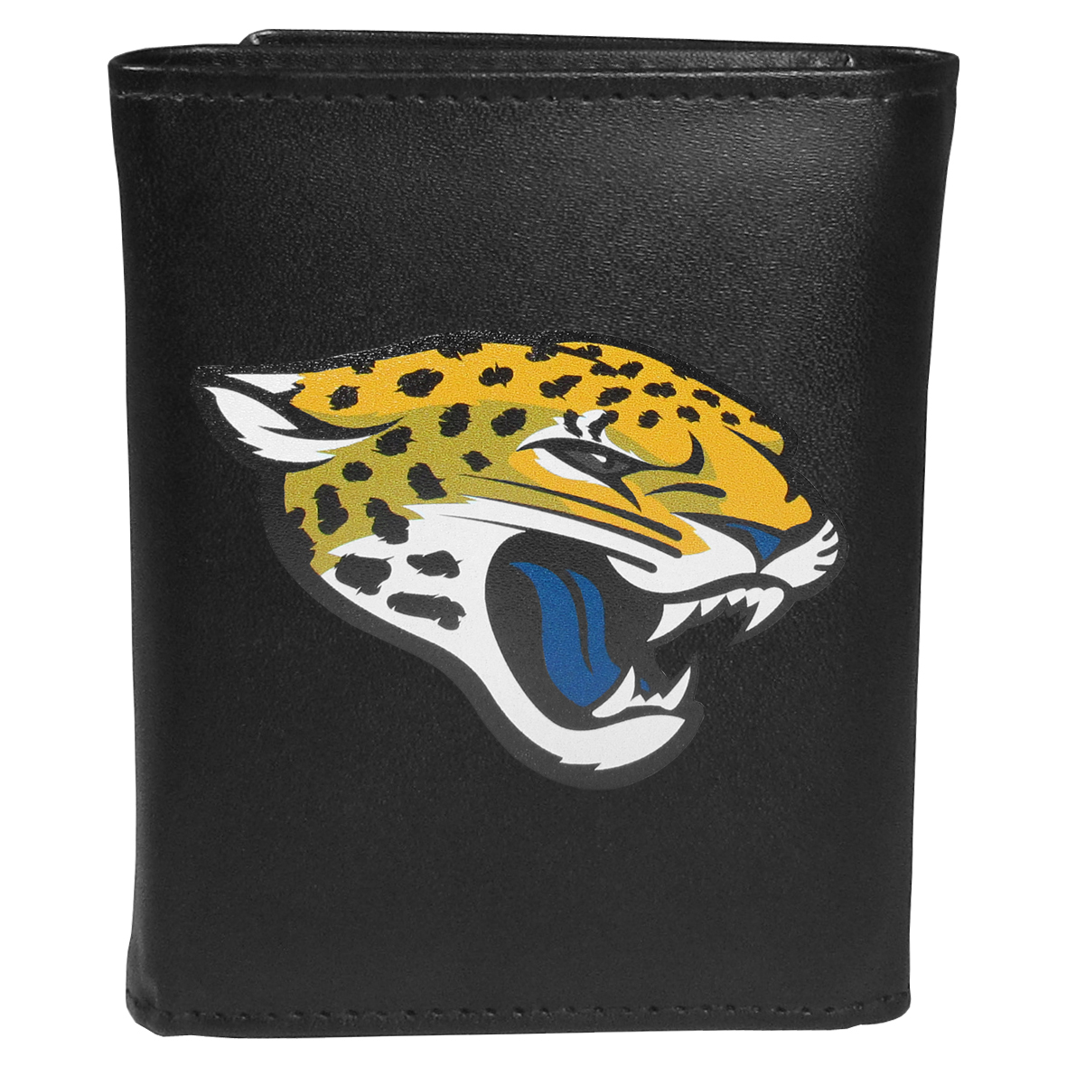 Jacksonville Jaguars Tri-fold Wallet Large Logo - Sports fans do not have to sacrifice style with this classic tri-fold wallet that sports theJacksonville Jaguars?extra large logo. This men's fashion accessory has a leather grain look and expert craftmanship for a quality wallet at a great price. The wallet features inner credit card slots, windowed ID slot and a large billfold pocket. The front of the wallet features an extra large printed team logo.
