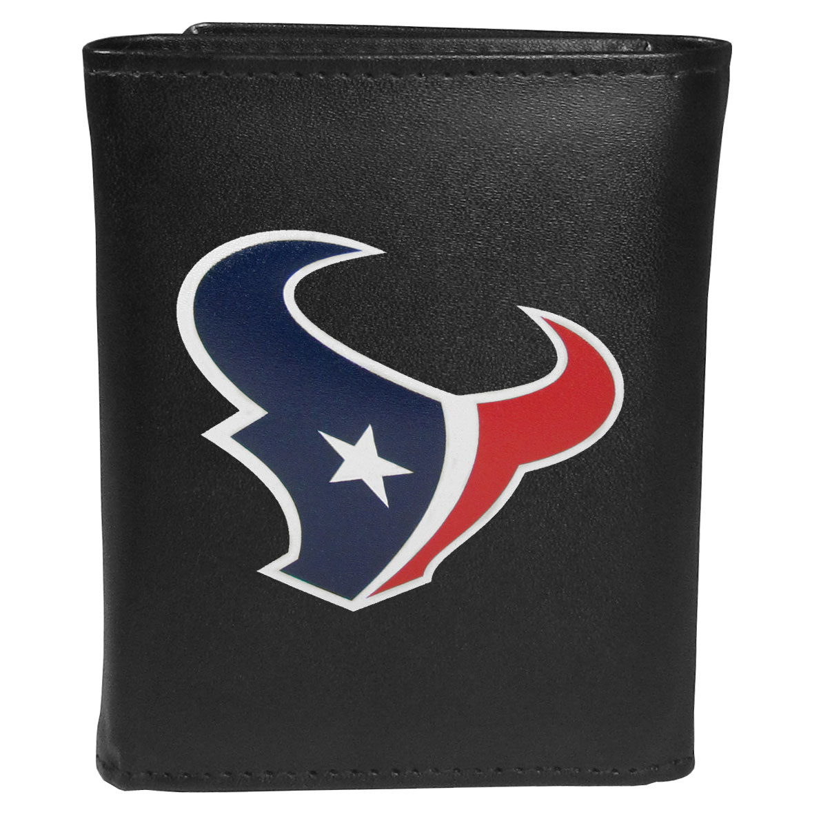 Houston Texans Tri-fold Wallet Large Logo - Sports fans do not have to sacrifice style with this classic tri-fold wallet that sports theHouston Texans?extra large logo. This men's fashion accessory has a leather grain look and expert craftmanship for a quality wallet at a great price. The wallet features inner credit card slots, windowed ID slot and a large billfold pocket. The front of the wallet features an extra large printed team logo.