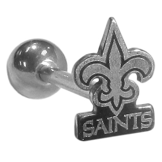 New Orleans Saints Barbell Tongue Ring - Show off your team pride with our officially licensed New Orleans Saints tongue ring. The 1 inch barbell features metal carved logo.