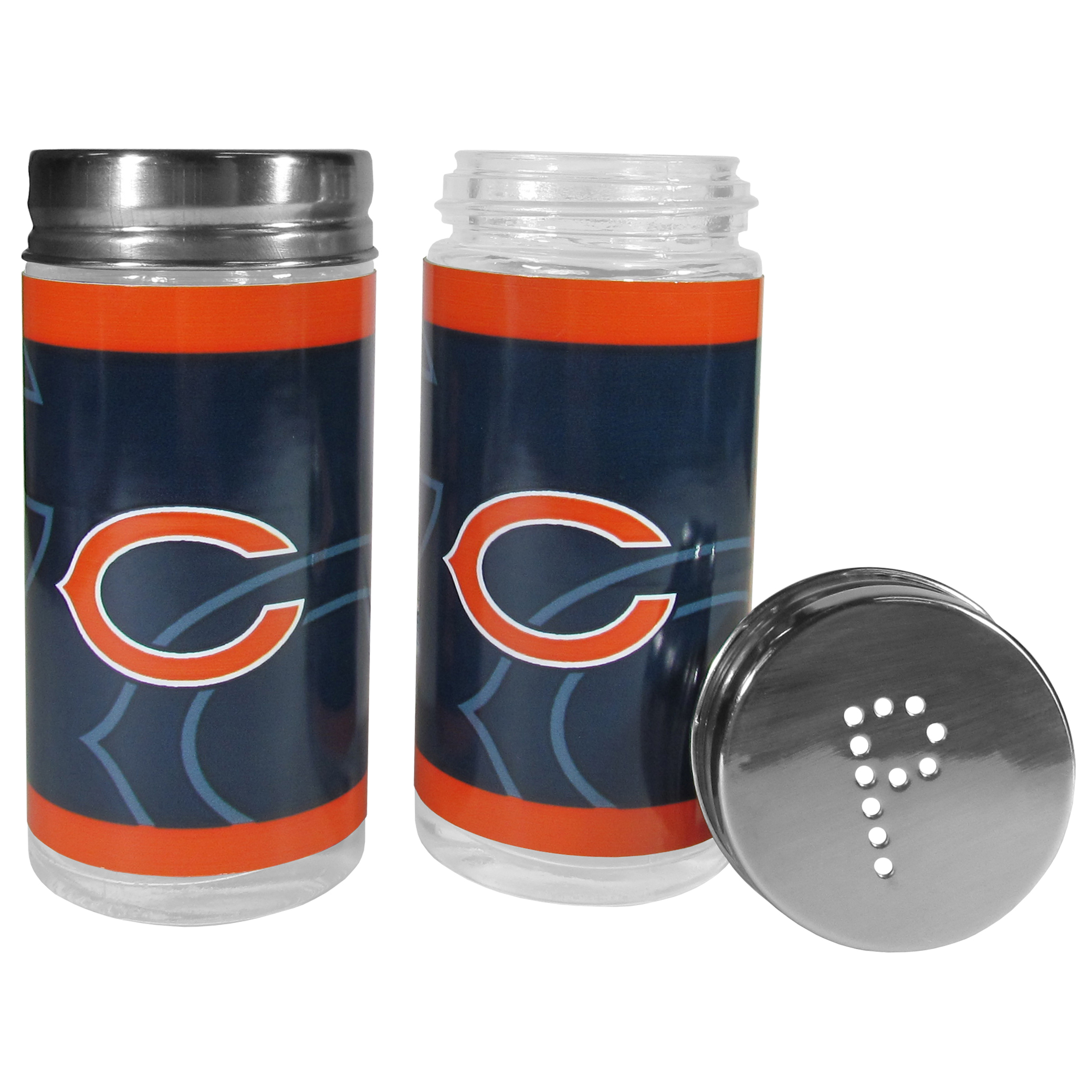 Chicago Bears Tailgater Salt and Pepper Shakers - No tailgate party is complete without your Chicago Bears salt & pepper shakers featuring bright team graphics. The glass shakers are 3.75 inches tall and the screw top lids have holes that spell out P and S. These team shakers are a great grill accessory whether you are barbecuing on the patio, picnicing or having a game day party.