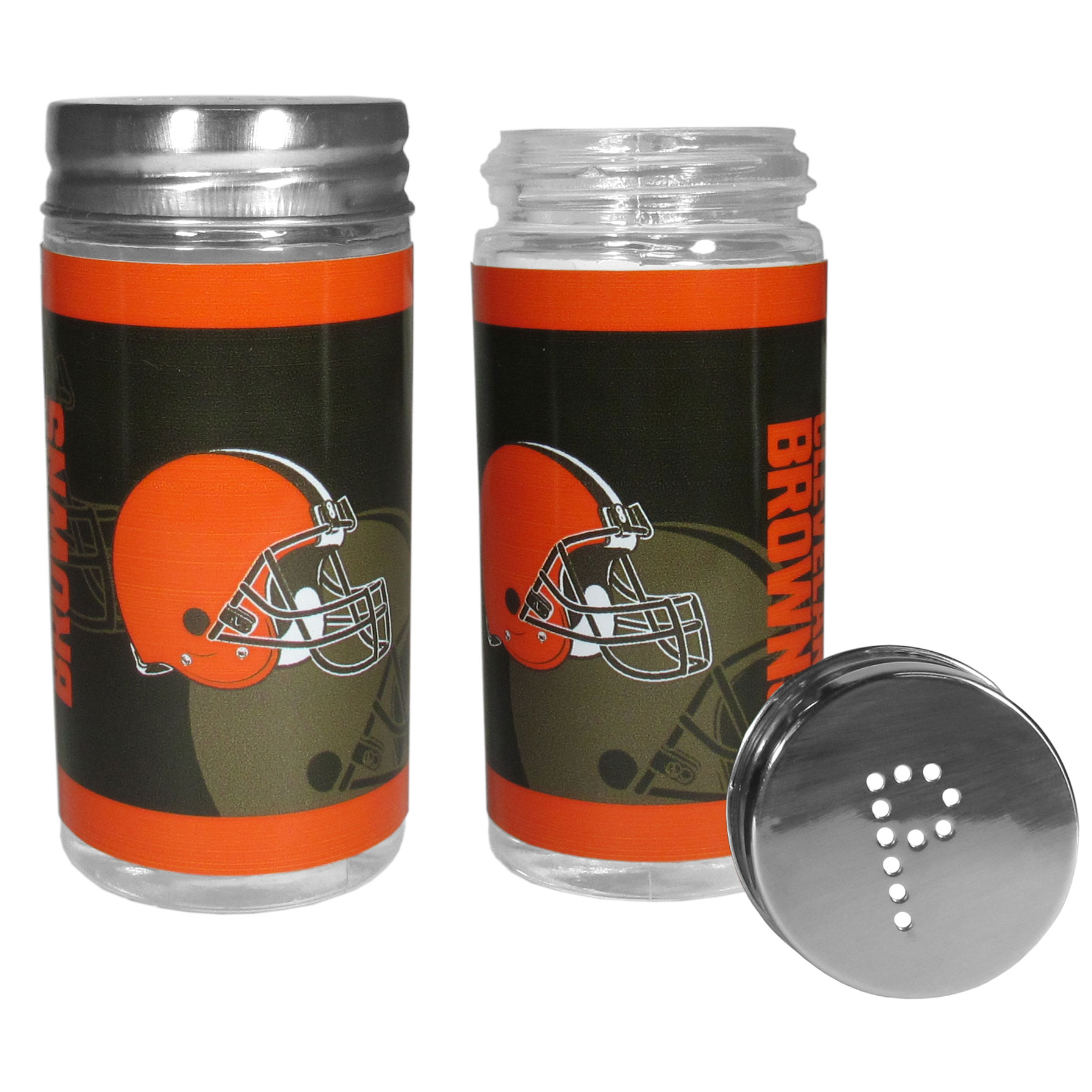Cleveland Browns Tailgater Salt & Pepper Shakers - No tailgate party is complete without your Cleveland Browns salt & pepper shakers featuring bright team graphics. The glass shakers are 3.75 inches tall and the screw top lids have holes that spell out P and S. These team shakers are a great grill accessory whether you are barbecuing on the patio, picnicing or having a game day party.
