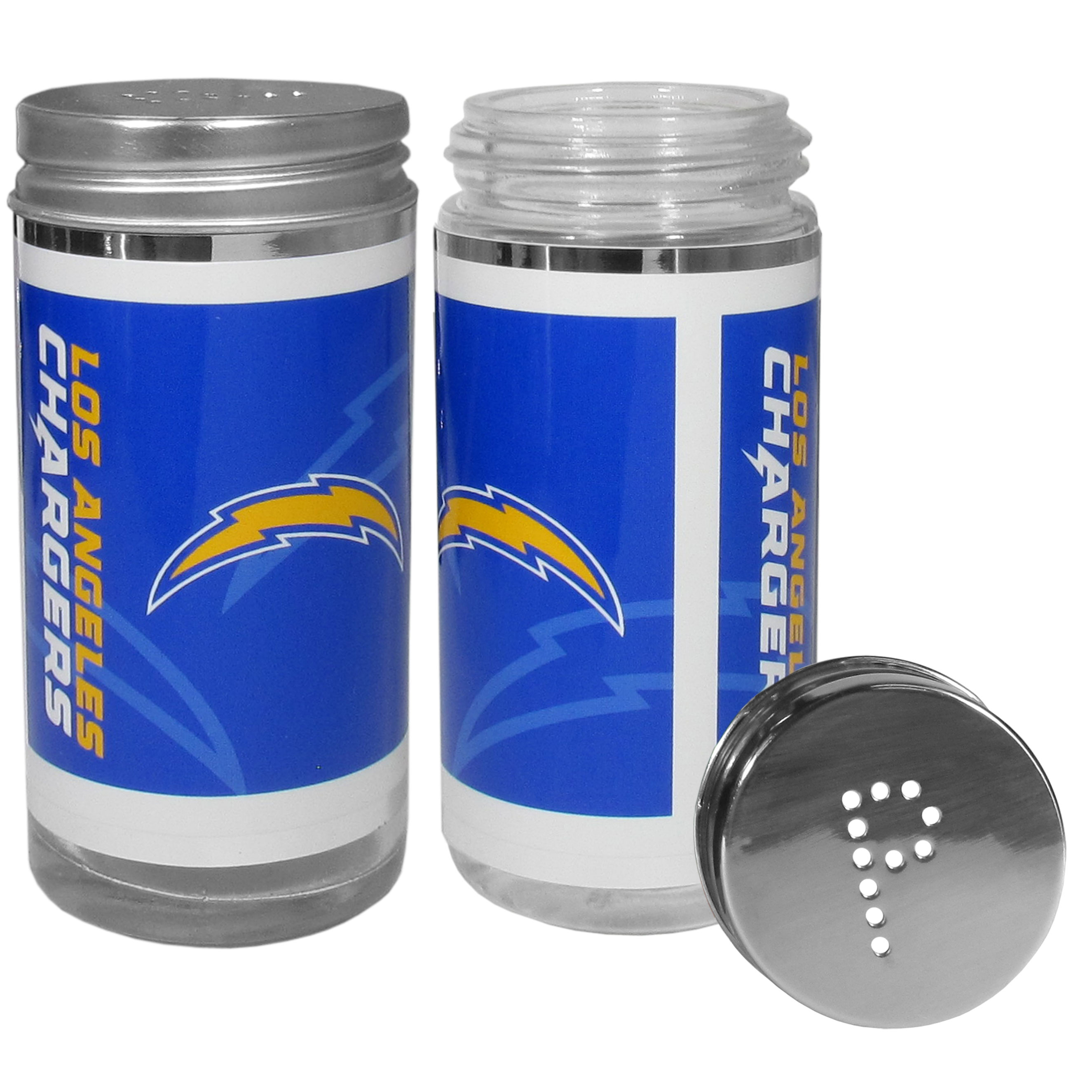 Los Angeles Chargers Tailgater Salt & Pepper Shakers - No tailgate party is complete without your Los Angeles Chargers salt & pepper shakers featuring bright team graphics. The glass shakers are 3.75 inches tall and the screw top lids have holes that spell out P and S. These team shakers are a great grill accessory whether you are barbecuing on the patio, picnicing or having a game day party.