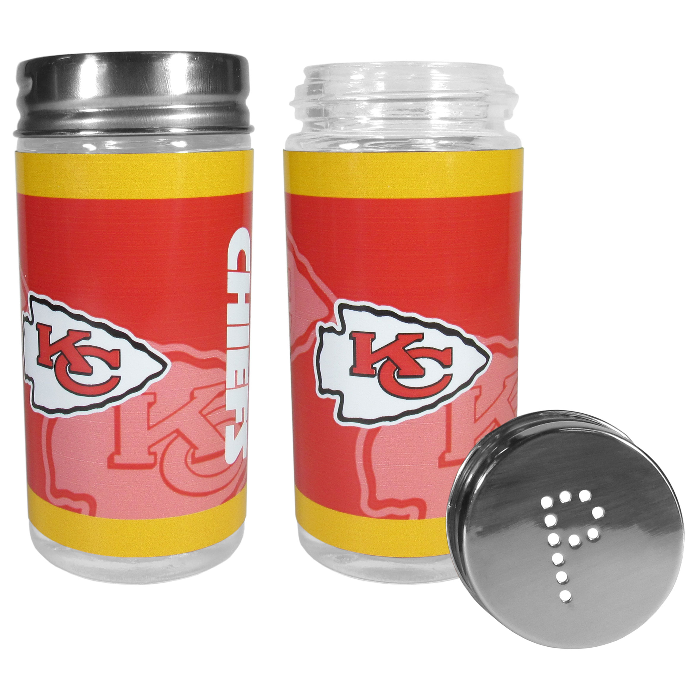 Kansas City Chiefs Tailgater Salt and Pepper Shakers - No tailgate party is complete without your Kansas City Chiefs salt & pepper shakers featuring bright team graphics. The glass shakers are 3.75 inches tall and the screw top lids have holes that spell out P and S. These team shakers are a great grill accessory whether you are barbecuing on the patio, picnicing or having a game day party.