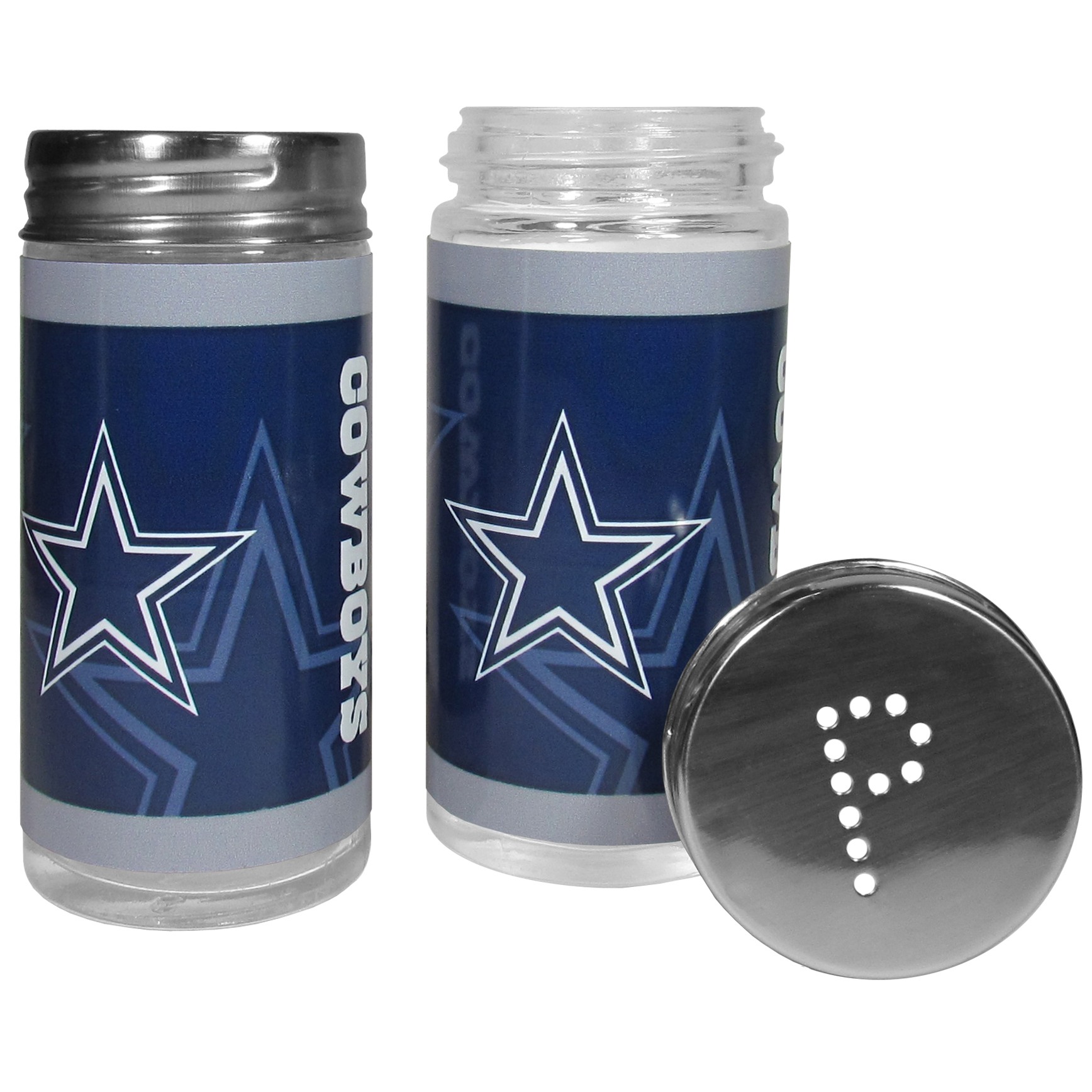 Dallas Cowboys Tailgater Salt & Pepper Shakers - No tailgate party is complete without your Dallas Cowboys salt & pepper shakers featuring bright team graphics. The glass shakers are 3.75 inches tall and the screw top lids have holes that spell out P and S. These team shakers are a great grill accessory whether you are barbecuing on the patio, picnicing or having a game day party.